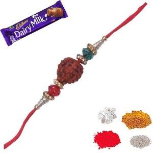 Rudraksh rakhi with two beads